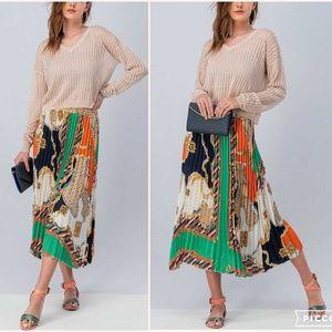 Dresses & Skirts - Scarf print / Multi printed pleated Skirt